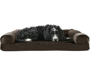 Furhaven Pet Dog Bed | Therapeutic Plush & Suede Sofa-Style Living Room Couch Pet Bed w/ Removable Cover for Dogs & Cats - Available in Multiple Colors & Styles