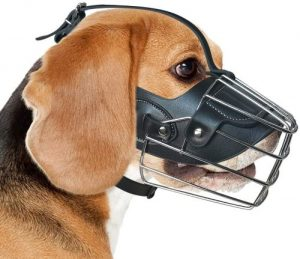 Ggr Basket Dog Muzzle Breathable Pitbull Metal Mask Mouth Cover Adjustable Leather Straps Pit Bull