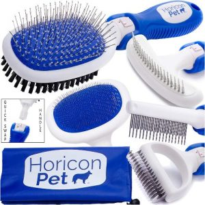 Horicon Pet Premium Dog Brush Set Interchangeable Dog Grooming Brushes Dematting Undercoat Comb, S