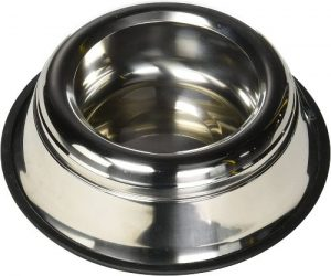 Indipets Stainless Steel Spill Proof Splash Free No Tip Anti Skid Dish With Easy Pick Up Grip Hand