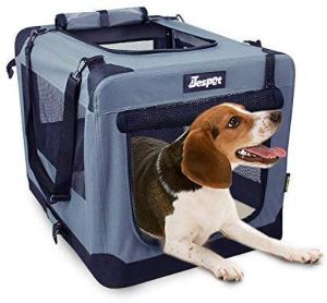 Jespet Soft Dog Crates Kennel For Pets, 3 Door Soft Sided Folding Travel Pet Carrier With Straps An