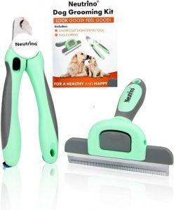 Neutrino Dog Brushes For Shedding Perfect Grooming Kit – Includes Dog Brush And Bonus Nail Clipper