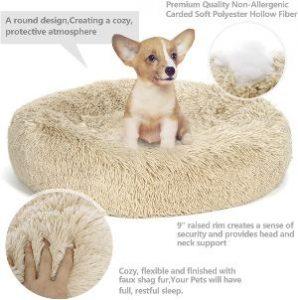 Nova Microdermabrasion Calming Ultra Soft Shag Faux Fur Dog Bed Comfortable Donut Cuddler For Dogs A