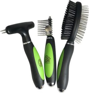 Pet Magasin Professional Grooming Brushes (pack Of 3) Double Sided Brush, Long Tooth Undercoat Dog R
