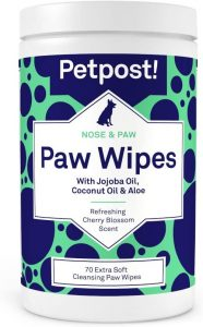 Petpost Paw Wipes For Dogs Cleans And Soothes Itchy Dog Paws 70 Ultra Soft Large Cotton Pads I