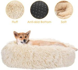 Slowton Dog Calming Bed, Ultra Soft Donut Cuddler Nest Warm Plush Dog Cat Cushion With Cozy Sponge N
