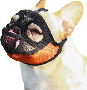 Tandd Short Snout Dog Muzzle Adjustable Breathable Mesh Bulldog Muzzle Dog Mask For Barking Bitin