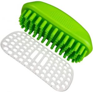 Tank And Sherman Dog Shampoo Rubber Brush – Easy To Clean Dog Bath Brush With Fur Catching Screen –