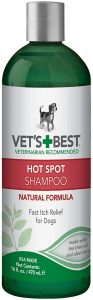 Vet's Best Hot Spot Itch Relief Shampoo For Dogs Relieves Dog Dry Skin, Rash, Scratching, Licking,