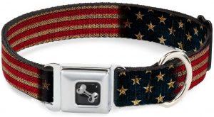 Vintage Us Flag Stretch Dog Collar