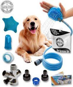 Wantedstuff 3 In 1 Pet Shower Kit With Free Dental Finger Brush Dog Shower Sprayer, Adjustable Bat
