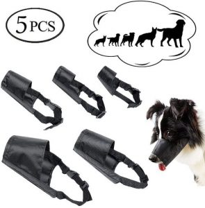 Ewinever Dog Muzzles Suit, Adjustable Breathable Safety Small Medium Large Extra Dog Muzzles For Ant