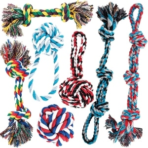 Amzpets Dog Toy Set For Large Dogs And Aggressive Chewers 7 Nearly Indestructible Cotton Chewing R