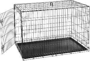 Amazonbasics Single Door & Double Door Folding Metal Dog Or Pet Crate Kennel With Tray