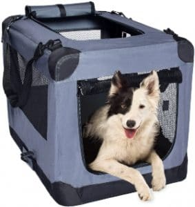 Arf Pets Dog Soft Crate Kennel For Pet Indoor Home & Outdoor Use Soft Sided 3 Door Folding Travel