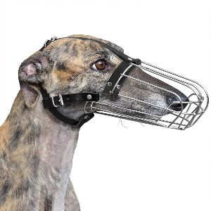 Bronzedog Greyhound Muzzle For Adult Dogs Metal Wire Basket Adjustable Leather Straps