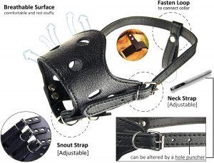 Barkless Leather Dog Muzzle