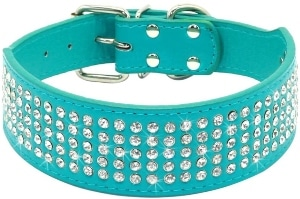 Beirui Rhinestones Dog Collars 2 Width With 5 Rows Full Sparkly Crystal Diamonds Studded Pu Leath
