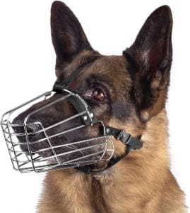 Bronzedog Wire Basket Dog Muzzle German Shepherd Metal Leather Adjustable