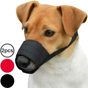 Collardirect Adjustable Dog Muzzle Small Medium Large Dogs Set 2pcs Soft Breathable Nylon Mask Safet