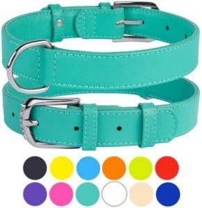 Collardirect Leather Dog Collar 12 Colors Soft Padded Pet Collars Small Medium Large Puppy Green Bla
