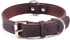 Daihaqiko Leather Dog Collar Genuine Leather Alloy Hardware Double D Ring 3 Best For Medium Large And Extra Large Dogs