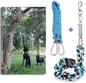 Dibbatu Spring Pole Dog Rope Toys With A Big Spring Pole Kit, Strong Dog Rope Toy And A 16ft Rope Fo