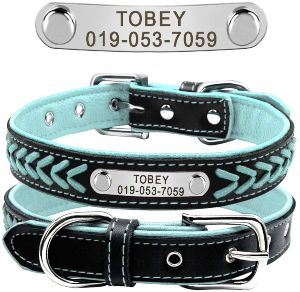 Didog Leather Custom Collar,braided Leather Engraved Dog Collars With Personalized Nameplate For Sma