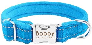 Didog Soft Padded Personalized Dog Collar, Flannel Padded Custom Dog Collar,reflective Engraved Coll