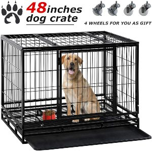 Dog Crate Cage For Large Dogs Heavy Duty 48 36inches Dog Kennel Pet Playpen For Training Indoor Out