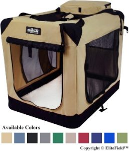 Elitefield 3 Door Folding Soft Dog Crate, Indoor & Outdoor Pet Home, Multiple Sizes And Colors Available