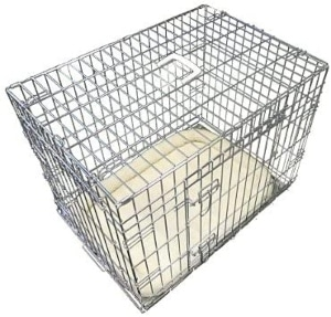 Ellie Bo Deluxe Extra Strong 2 Door Folding Dog Puppy Cage With Faux Sheepskin Bed Medium