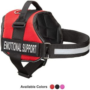 Emotional Support Dog Vest Harness With Reflective Straps, Interchangeable Patches, & Top Mount Hand