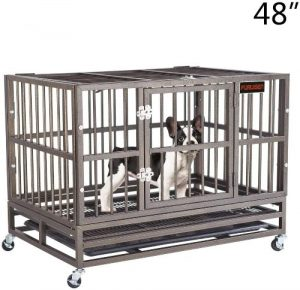 Furuisen 37 42 48 Inch Heavy Duty Dog Crate, Strong Metal Military Pet Kennel Playpen Large Dogs Ca
