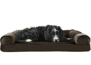 Furhaven Pet Dog Bed Ergonomic Contour Lounger & Therapeutic Sofa Style Living Room Couch & Pet Be