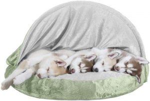 Furhaven Pet Dog Bed Therapeutic Round Cuddle Nest Snuggery Burrow Blanket Pet Bed W Removable Co