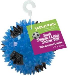 """Gnawsome 2.5"""" Squeak & Light Soccer Ball Dog Toy Small, Promotes Dental And Gum Health For Your Pe"""