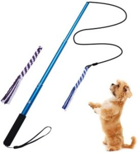 Goodsbeauty Interactive Dog Toys Extendable Flirt Pole With 2pcs Braided