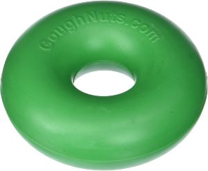 Goughnuts Original Dog Chew Toy Ring In Green, Orange, Black, And Black Pro 50 Ring Medium Durable