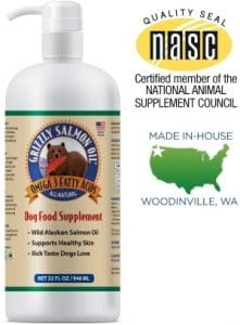 Grizzly All Natural Wild Caught Alaskan Salmon Oil Dog Food Supplement