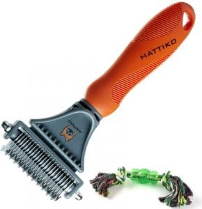 Hattiko Pet Grooming Tool Dematting Brush For Dogs & Cats With 2 Sided Undercoat Rake For All Mats