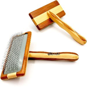 Hachi Paws N Claws Premium Pet Bamboo Wood Cushion Slicker Brush For Cats & Dogs Grooming, Detangle,
