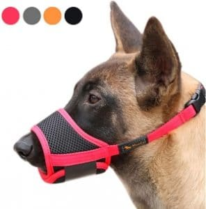Heele Dog Muzzle Nylon Soft Muzzle Anti Biting Barking Secure,mesh Breathable Pets Mouth Cover For Small Medium Large Dogs 4 Colors 4 Sizes