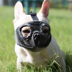 Jyhy Short Snout Dog Muzzles Adjustable Breathable Mesh Bulldog Muzzle For Biting Chewing Barking T