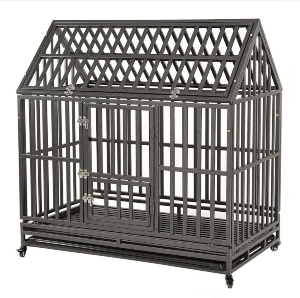 Kelixu Heavy Duty Dog Crate Strong Metal Pet Kennel Playpen With Two Prevent Escape Lock