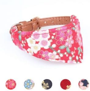 Leepets Dog Collar For Small Dog Puppy Cat With Adorable Bowtie Bandana Leash Durable Pu Leather Pa