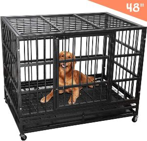 Lemberi Heavy Duty Dog Cage Crate, Pet Kennel Strong Metal For Training Large Dog, Easy To Assemble,
