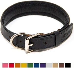 Logical Leather Padded Dog Collar Best Full Grain Heavy Duty Genuine Leather Collars (1)