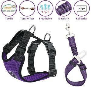 Lukovee Dog Safety Vest Harness With Seatbelt, Dog Car Harness Seat Belt Adjustable Pet Harnesses Do
