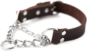 Mighty Paw Leather Training Collar, Martingale Collar, Stainless Steel Chain Premium Quality Limit